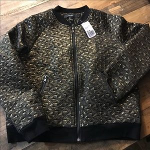 Forever 21 Quilted Black & Gold Bomber Jacket